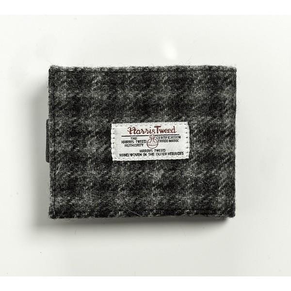 Harris Tweed Grey and Black Check Wallet with Coin Pouch - MacGregor and MacDuff