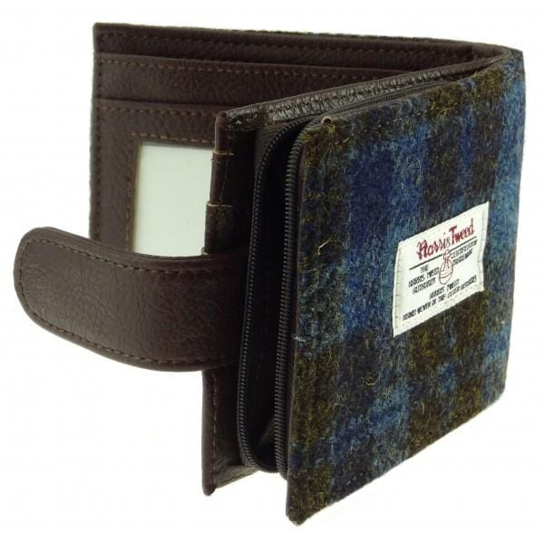 macgregorandmacduff Harris Tweed Blue and Brown Check Wallet with Coin Pouch