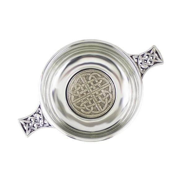 "3.5"" Quaich with Celtic Patterned Bottom and Handles (PQ406 EP) - MacGregor and MacDuff"