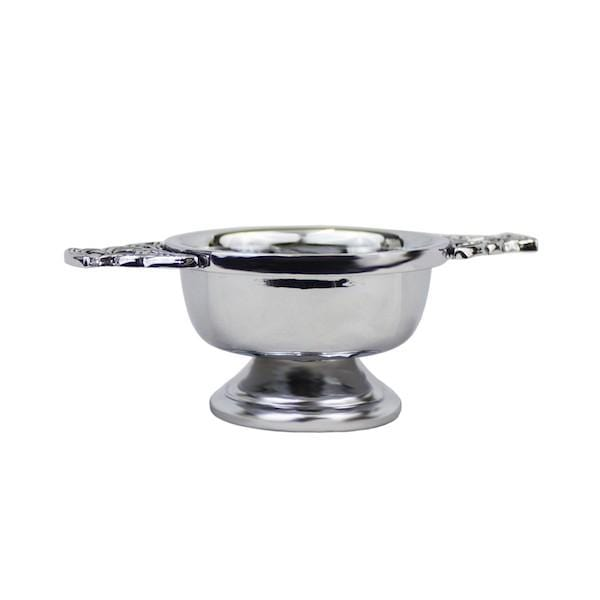 MacGregor MacDuff Plain Chrome Plated Quaich with Celtic Handles (QASP CB)