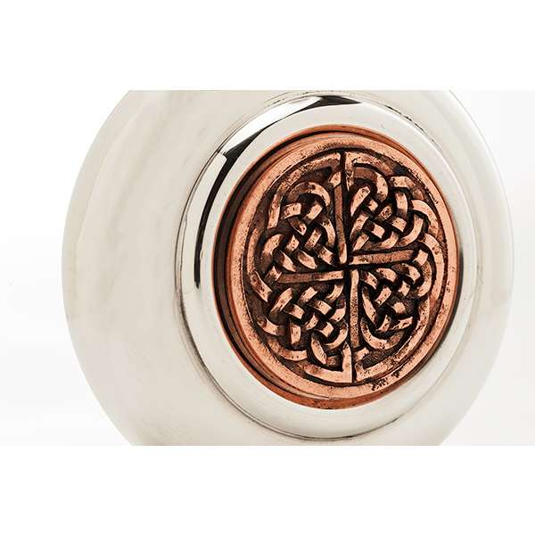 Round Celtic Copper Badge Hip Flask (CEL974 EP) - MacGregor and MacDuff