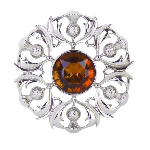 MacGregor MacDuff Scottish Thistle Plaid Brooch with Centre Stone (234 AP)