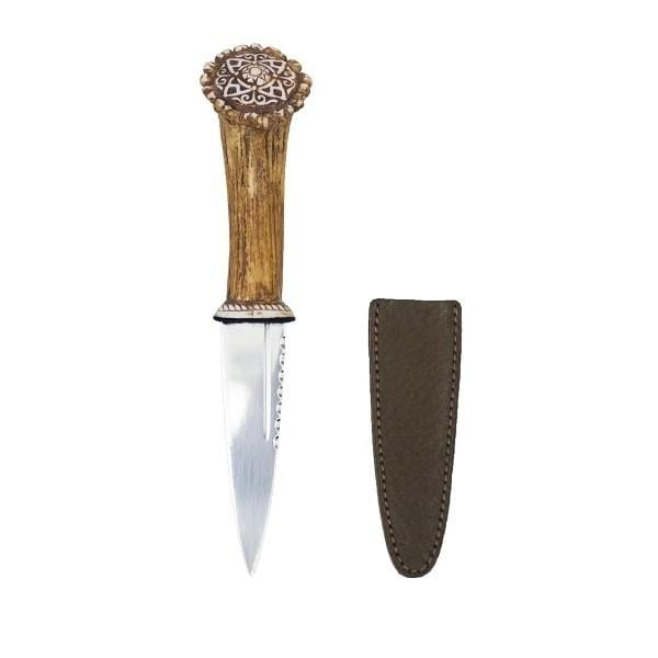 Staghorn Effect Sgian Dubh with Celtic Pattern (SK/CP AP) - MacGregor and MacDuff