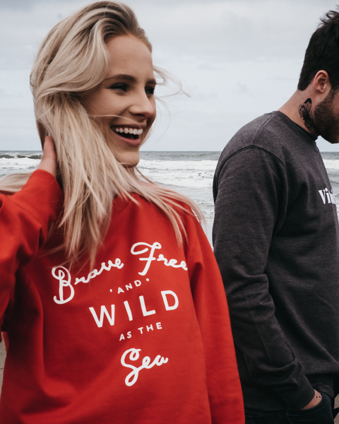 Brave Free & Wild As The Sea Red Sweatshirt by ART DISCO Original Goods