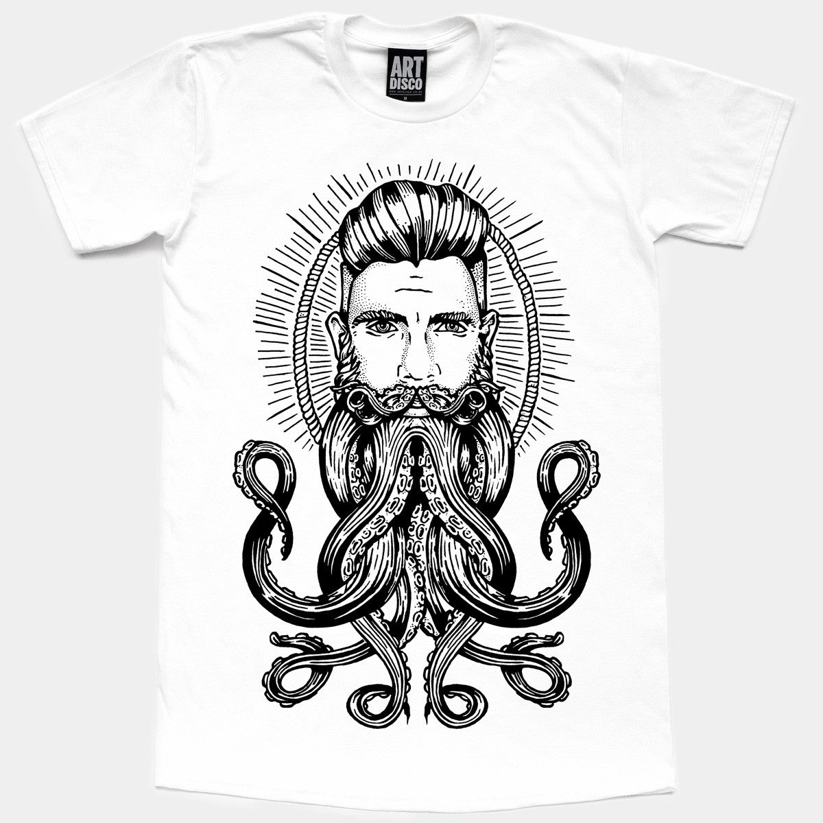 Hand Printed Neptune T-Shirt in White by ART DISCO