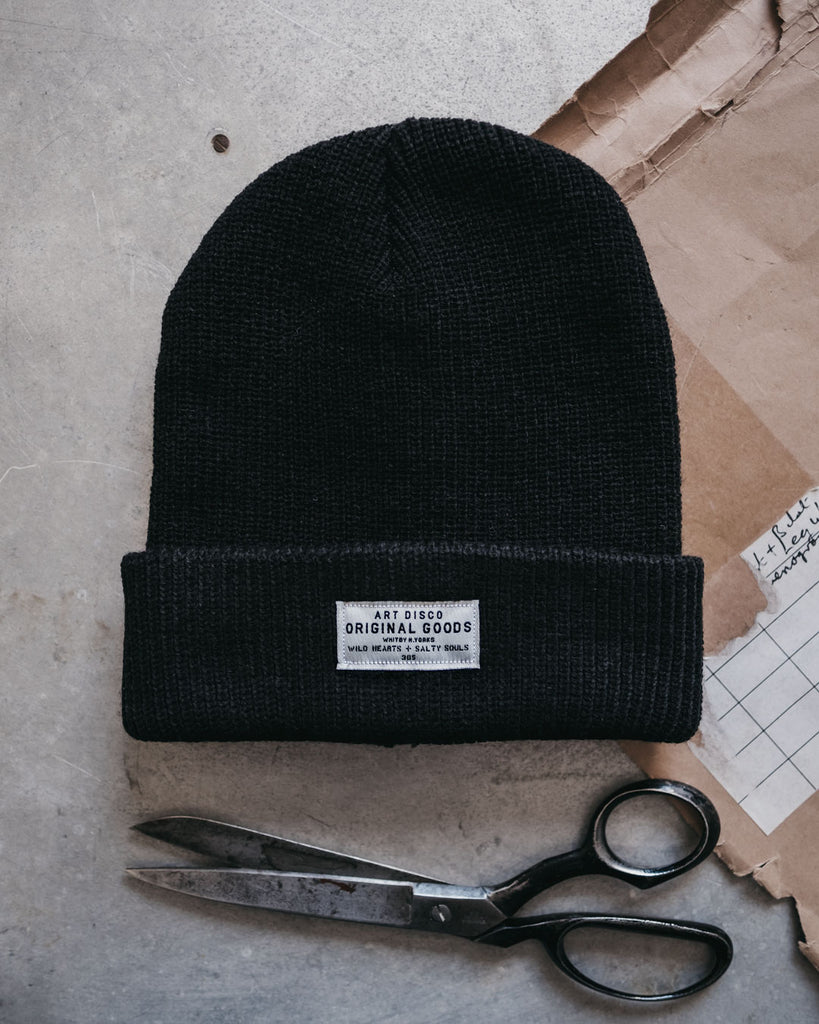 Black adventurer beanie by Art Disco Original Goods
