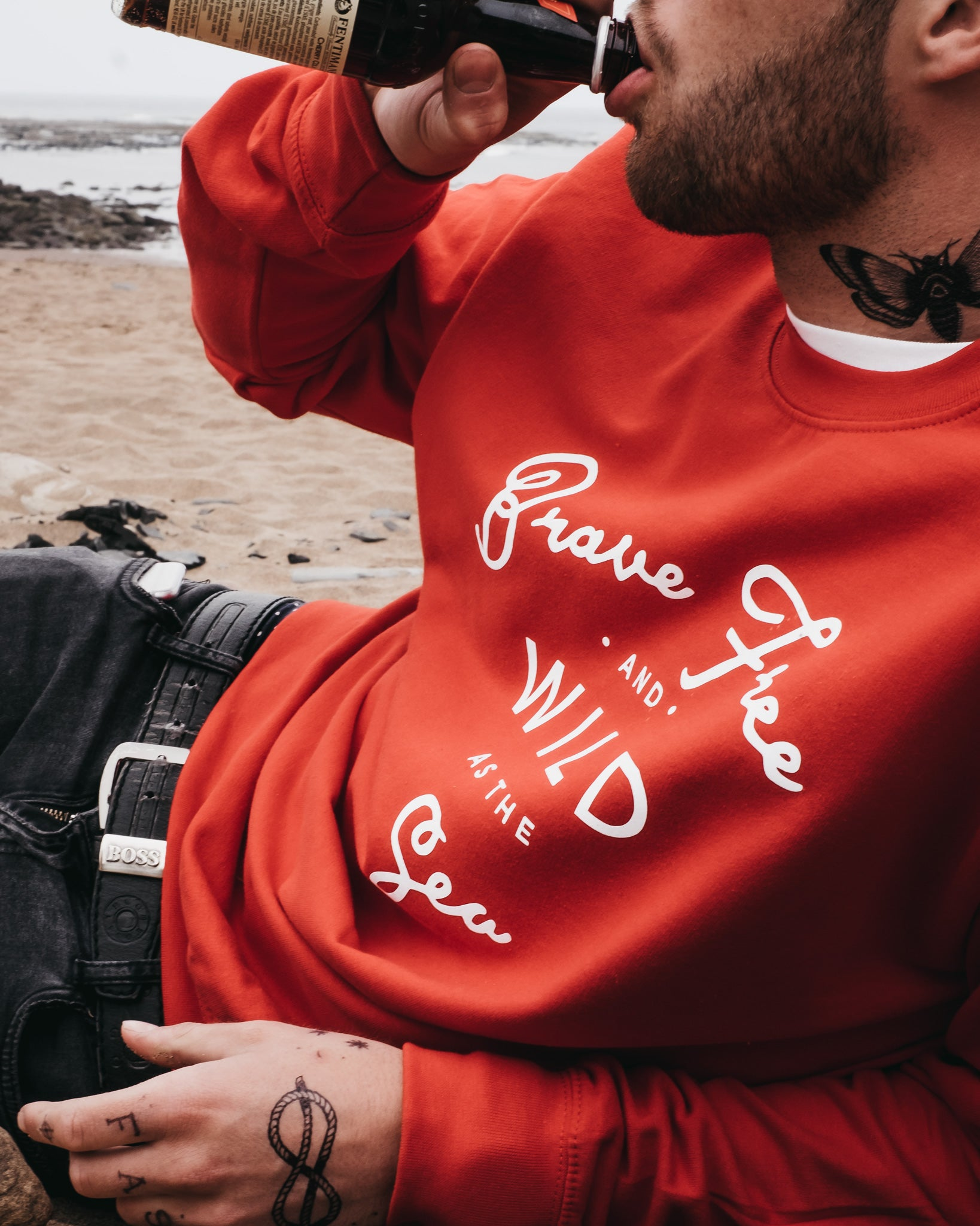 Red Brave Free & Wild As The Sea sweatshirt by Art Disco