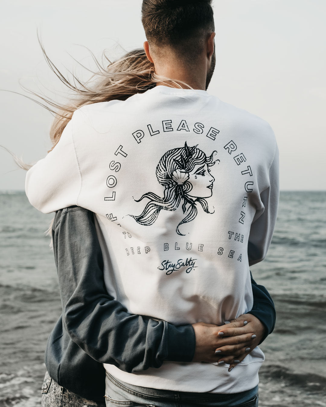 If Lost Please Return To The Deep Blue Sea Sweatshirt in White by ART DISCO Original Goods