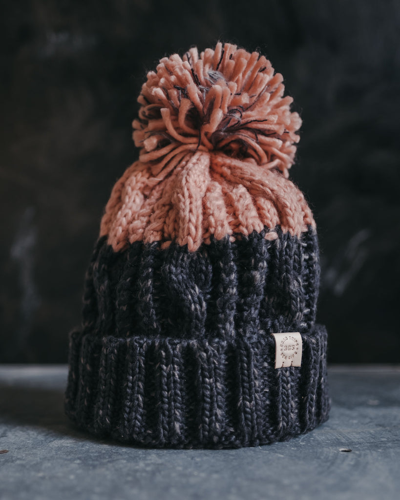 Ecru bobble beanie hat with pom pom by ART DISCO Original Goods