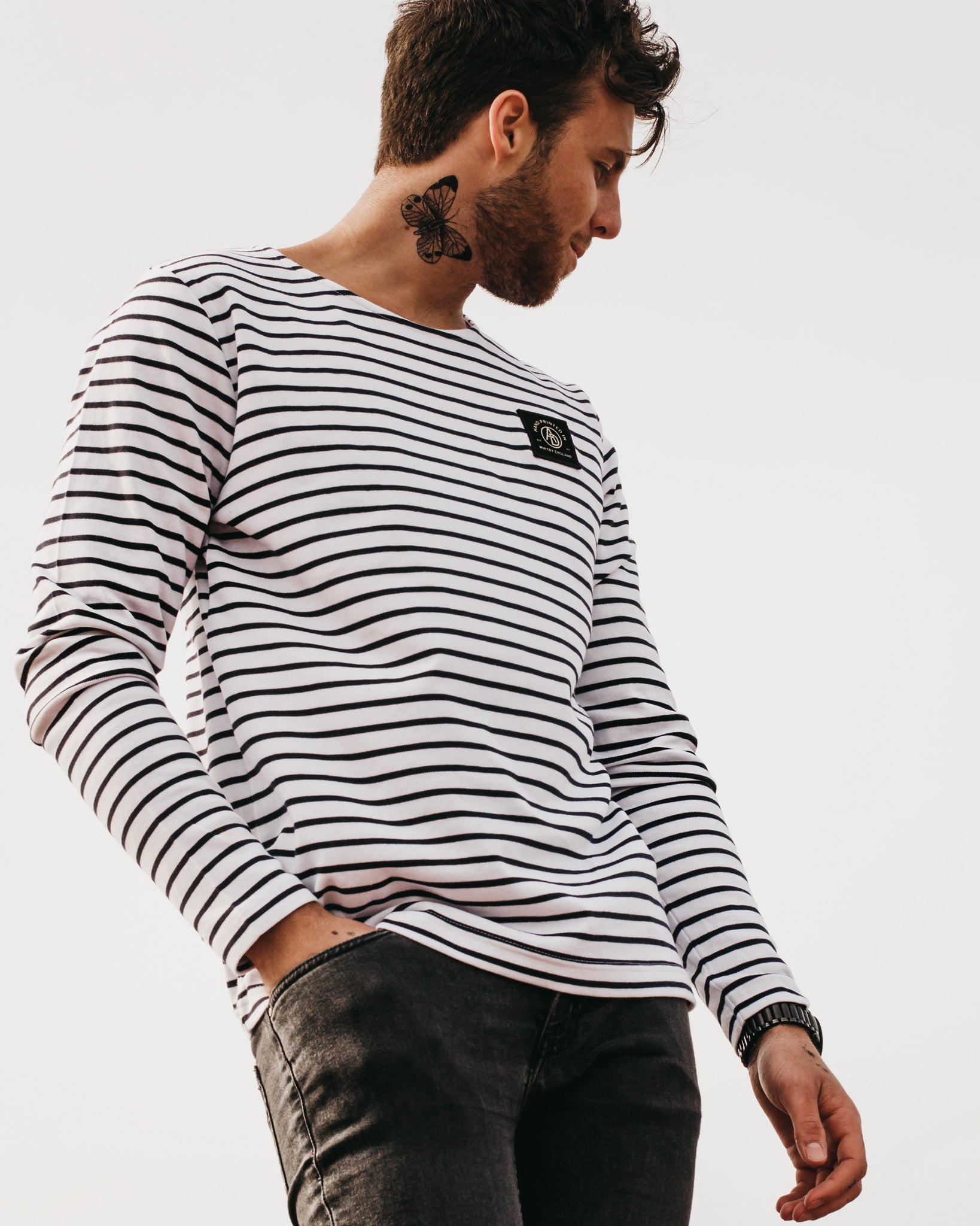 'Insignia' Striped Breton Long Sleeve Top by ART DISCO