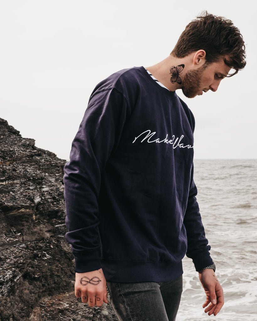 Make Waves embroidered navy blue sweatshirt by Art Disco