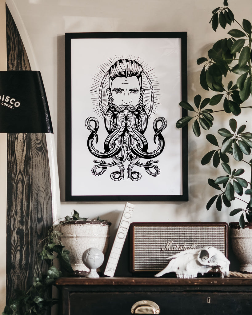 Neptune Octopus Beard Hand Printed Limited Edition Signed & Framed Art Print by ART DISCO Original Goods