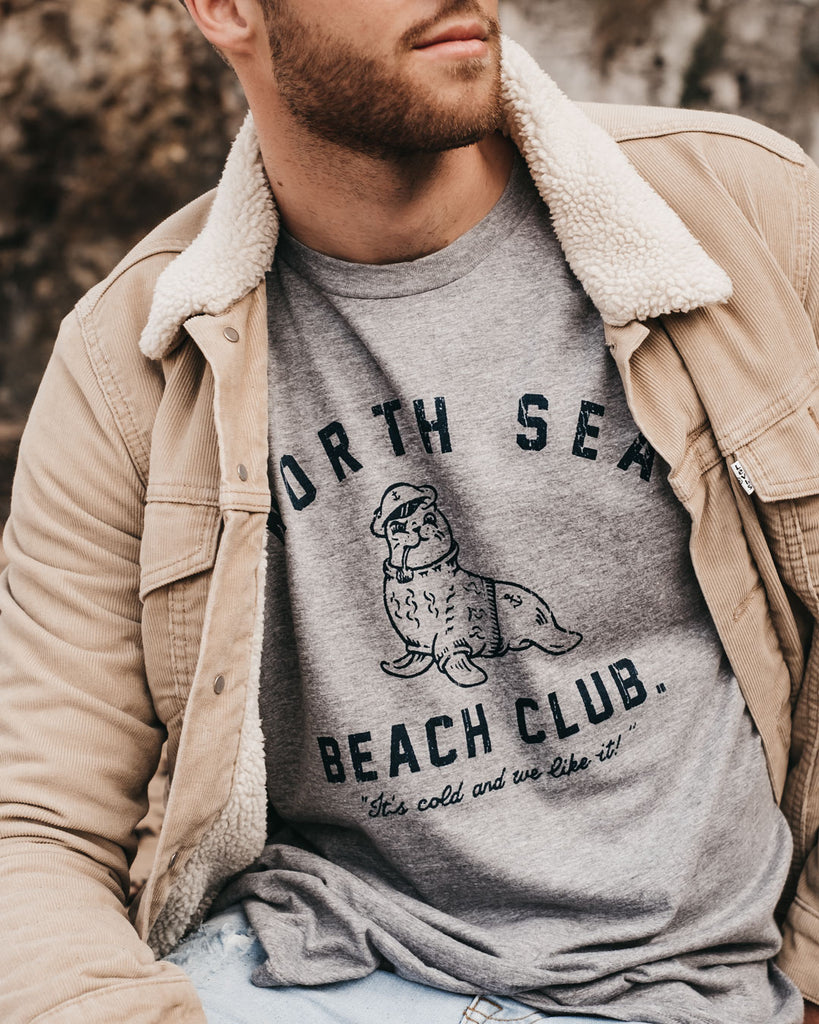 North Sea Beach Club Grey T-Shirt by ART DISCO Original Goods