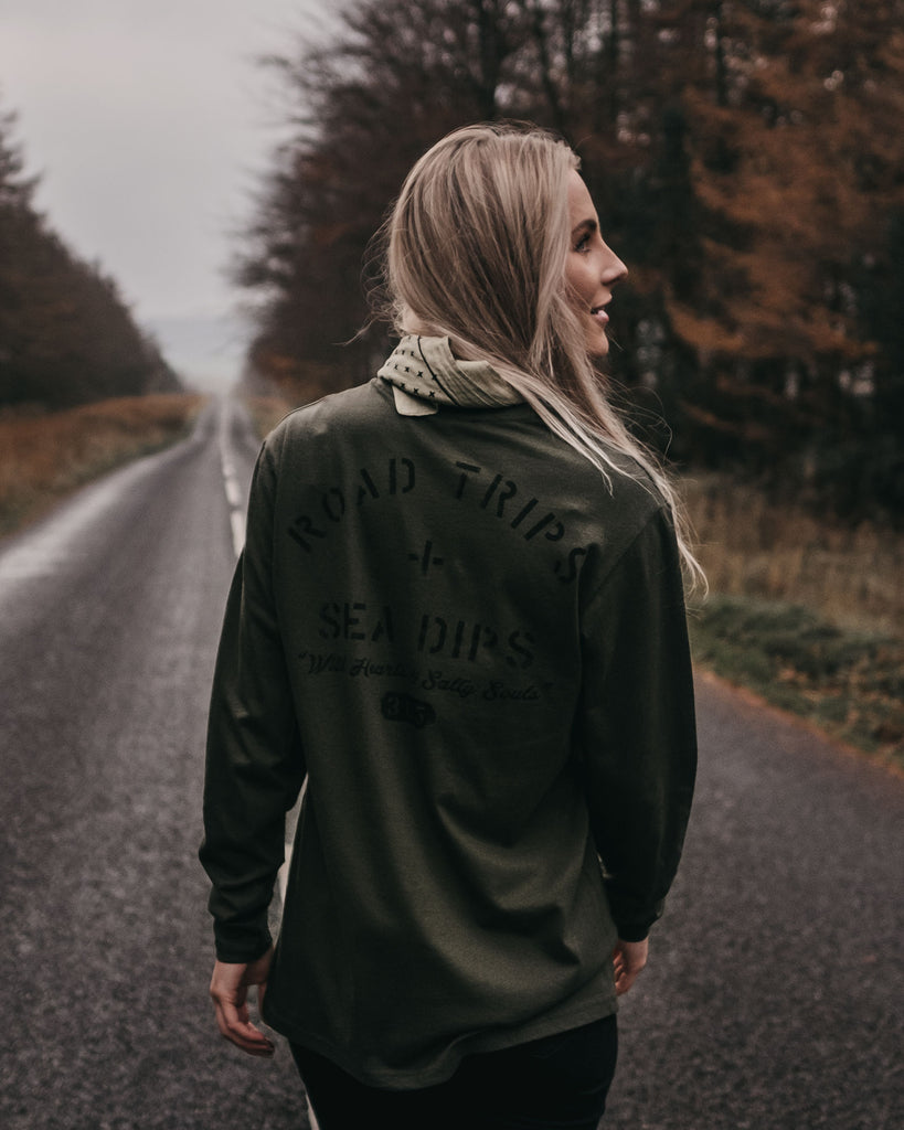 Road Trips + Sea Dips Olive Long Sleeve T-Shirt by ART DISCO Original Goods