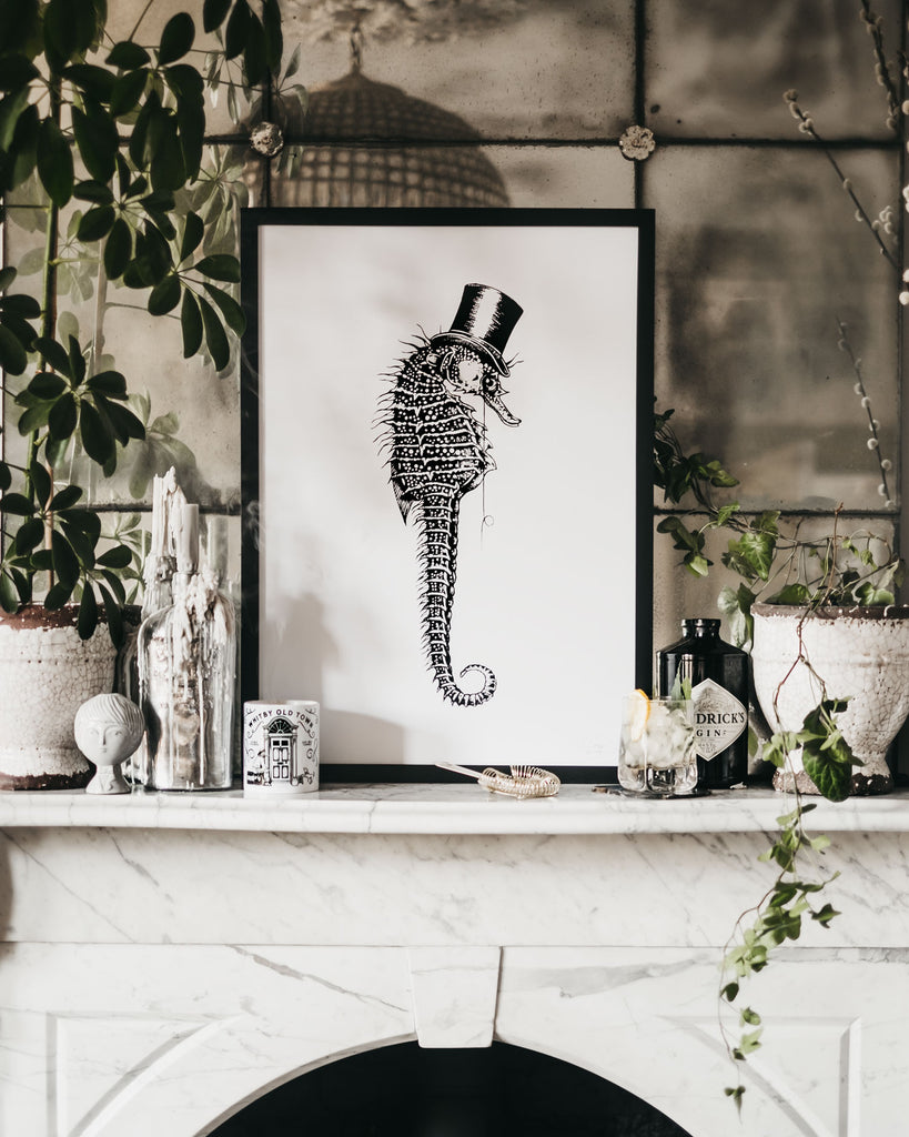 Distinguished Seahorse wearing a top hat Hand Printed Limited Edition Signed & Framed Art Print by ART DISCO Original Goods