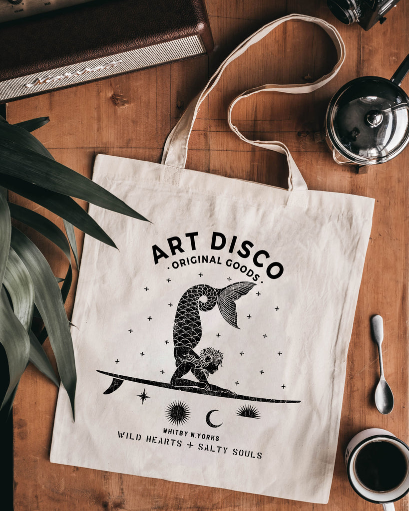 Art Disco Tote Bag Hand printed in Whitby with Mermaid on front