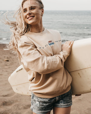 Van Life Camper 'Wild as the sea' sand sweatshirt by ART DISCO Original Goods