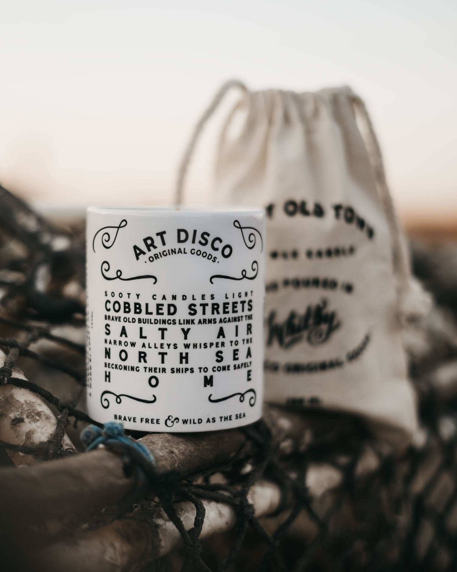 Whitby Old Town Hand Poured Smoked Bourbon & Honeysuckle Soy Wax Candle by ART DISCO Original Goods in Whitby