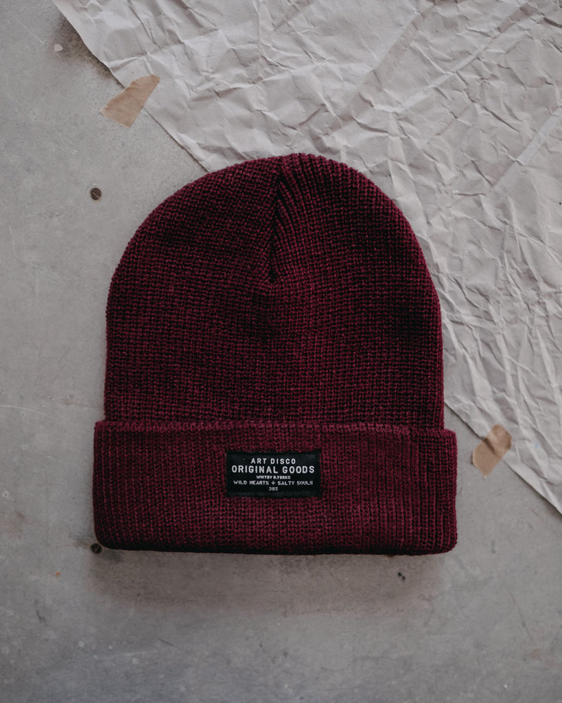 burgundy adventurer beanie by Art Disco Original Goods