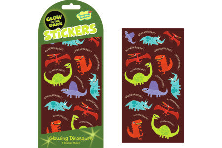 GLOWING DINOSAURS GLOW IN THE DARK STICKERS