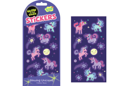GLOWING UNICORNS GLOW IN THE DARK STICKERS
