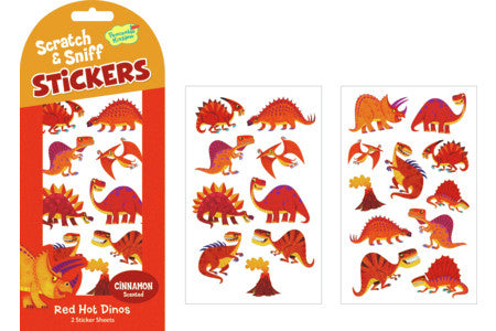 RED HOT DINOS SCRATCH & SNIFF STICKERS