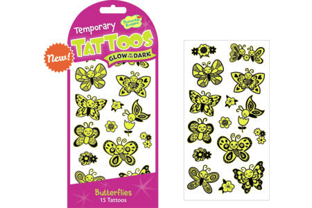 BUTTERFLIES GLOW IN THE DARK TEMPORARY TATTOOS