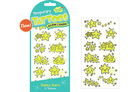 HAPPY STARS GLOW IN THE DARK TEMPORARY TATTOOS