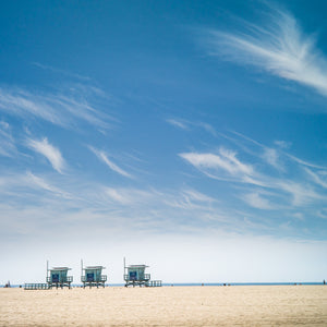 Three lifeguard towers