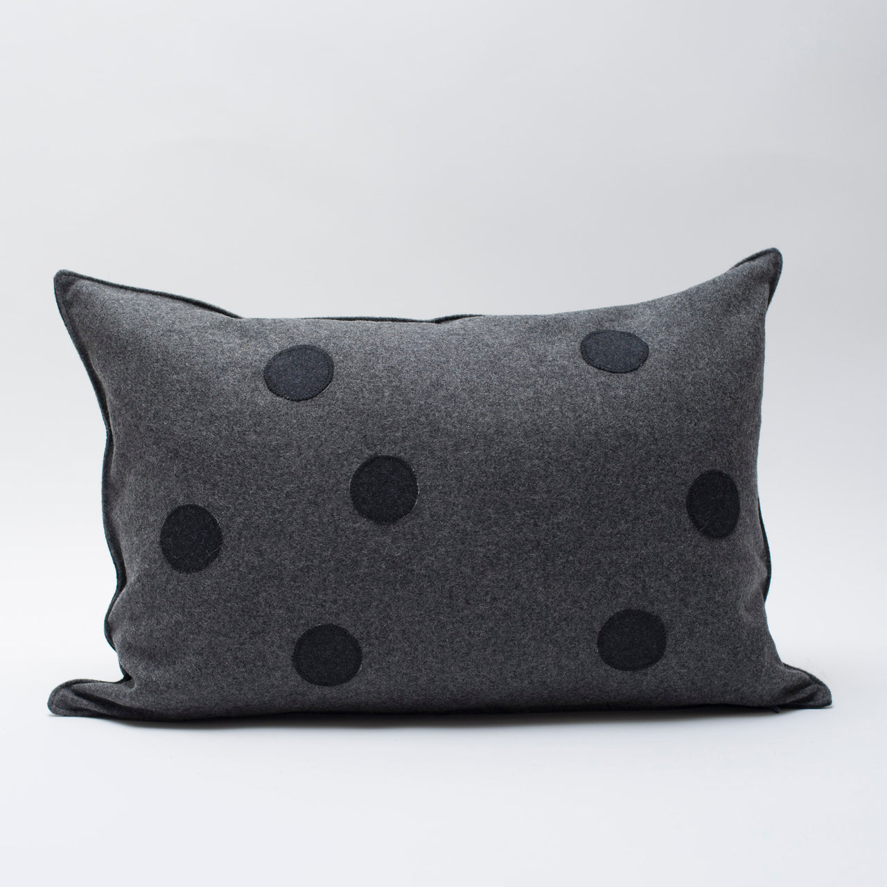 applique wool pillows- black and grey dots