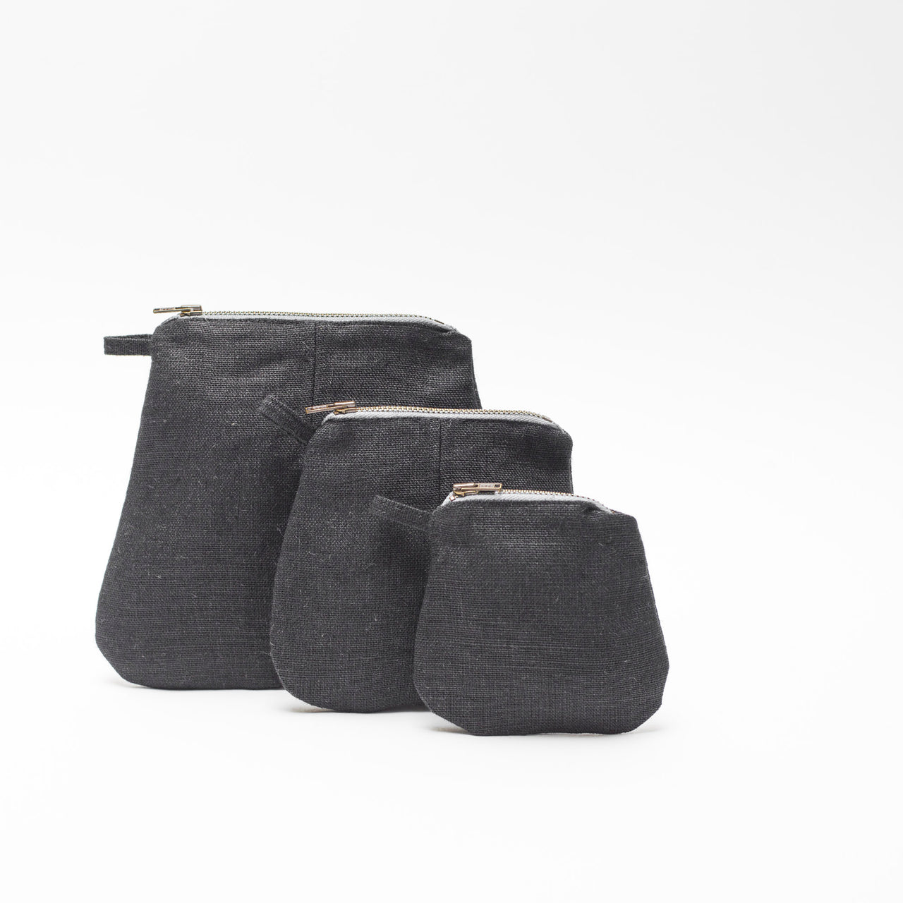 mini pouches (black linen)