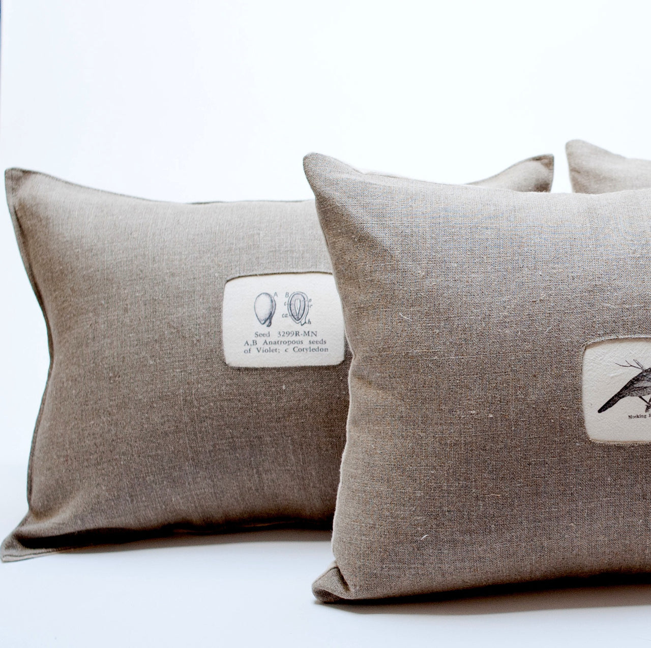 linen pillows with images