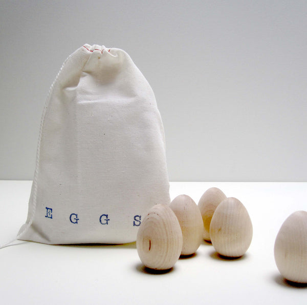 wooden eggs in a bag
