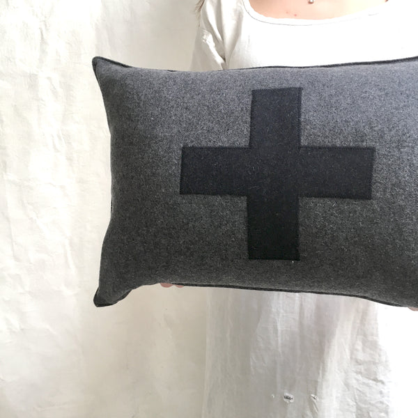applique wool pillows- black and grey cross