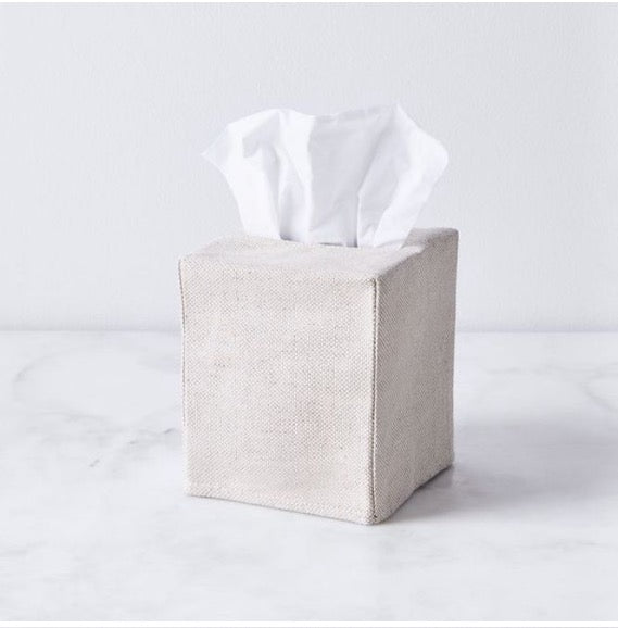 oatmeal linen tissue cover- square
