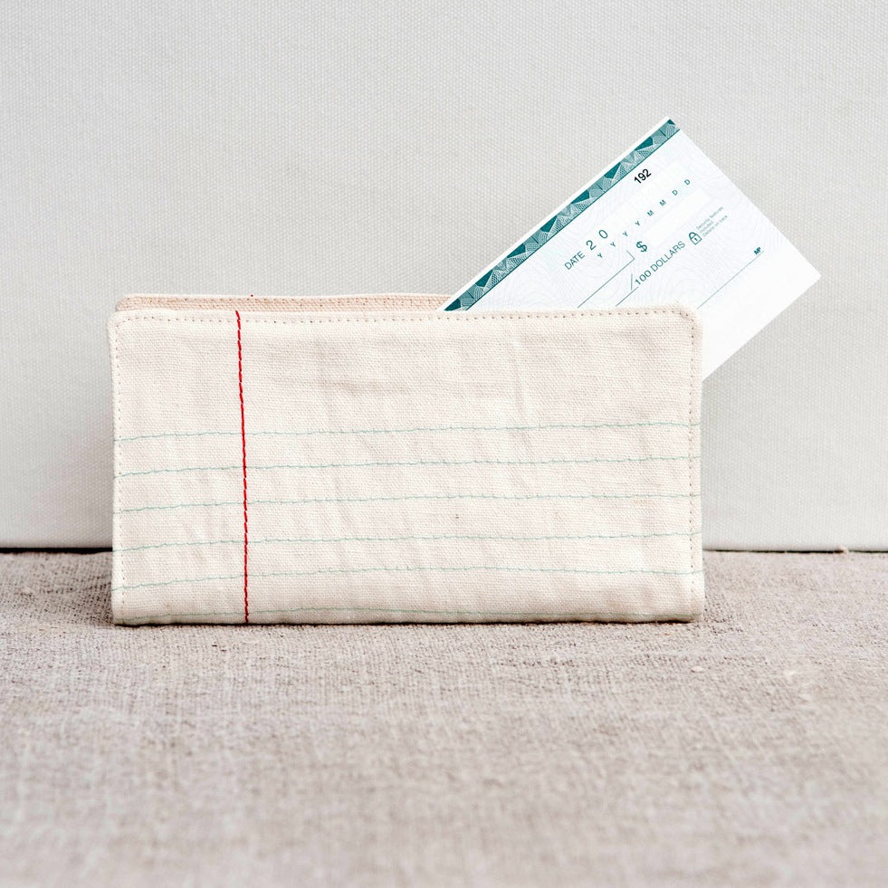 lined paper cheque book cover