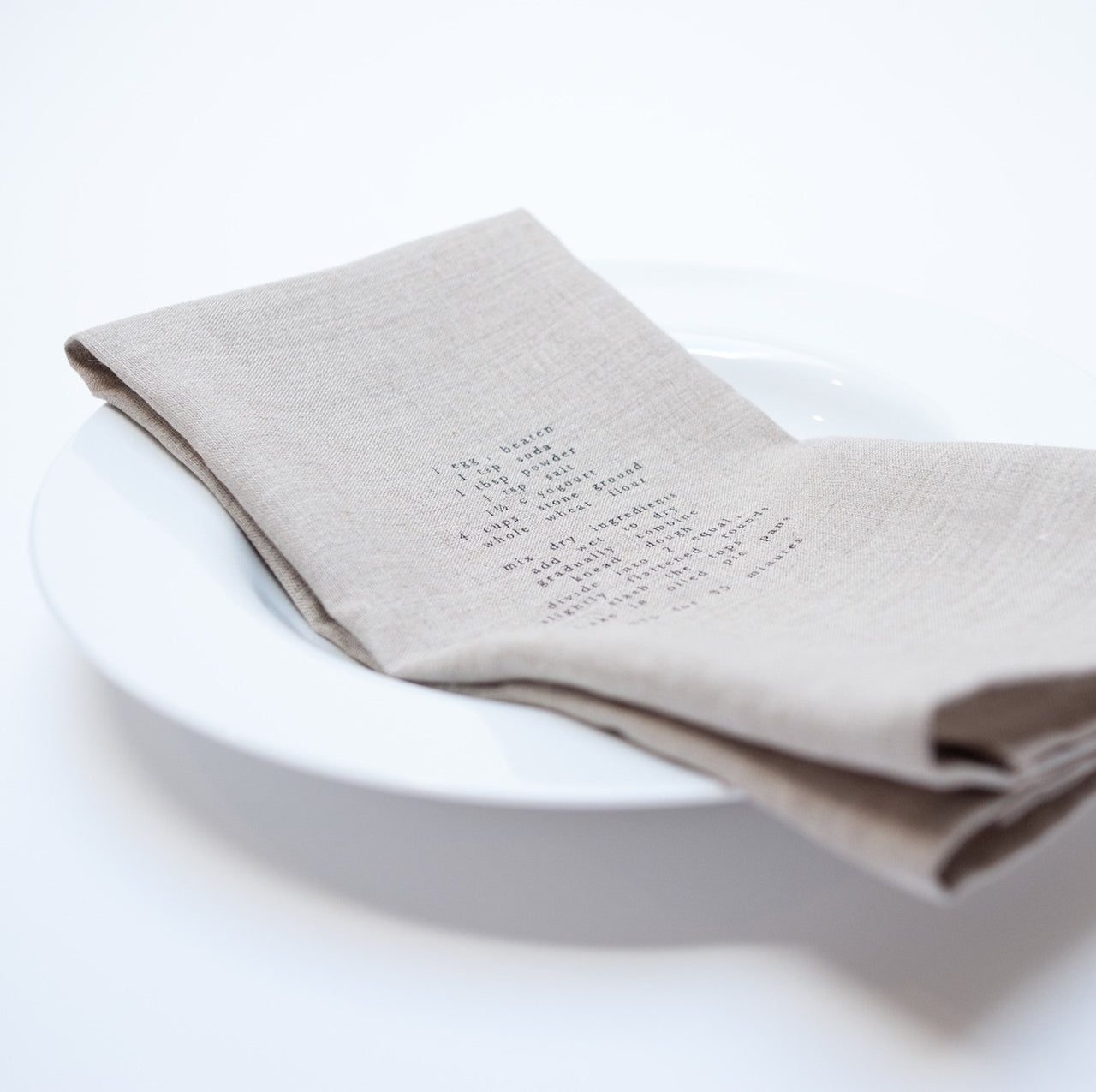 dark tea towel with recipe