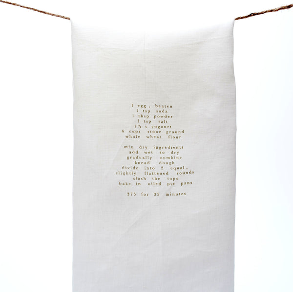 white tea towel with recipe