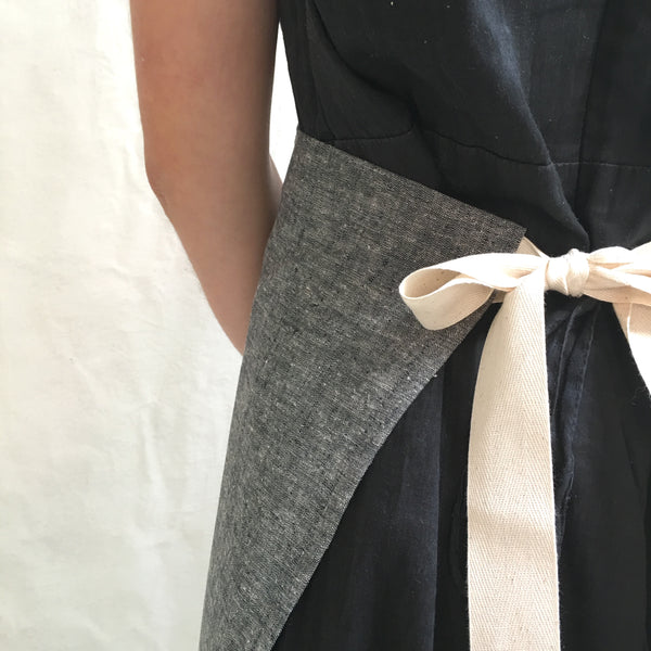 denim half apron with recipe on pocket