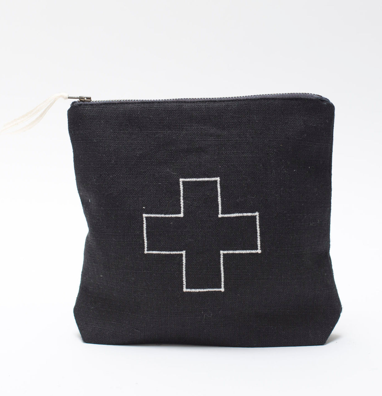 black linen ditty bag