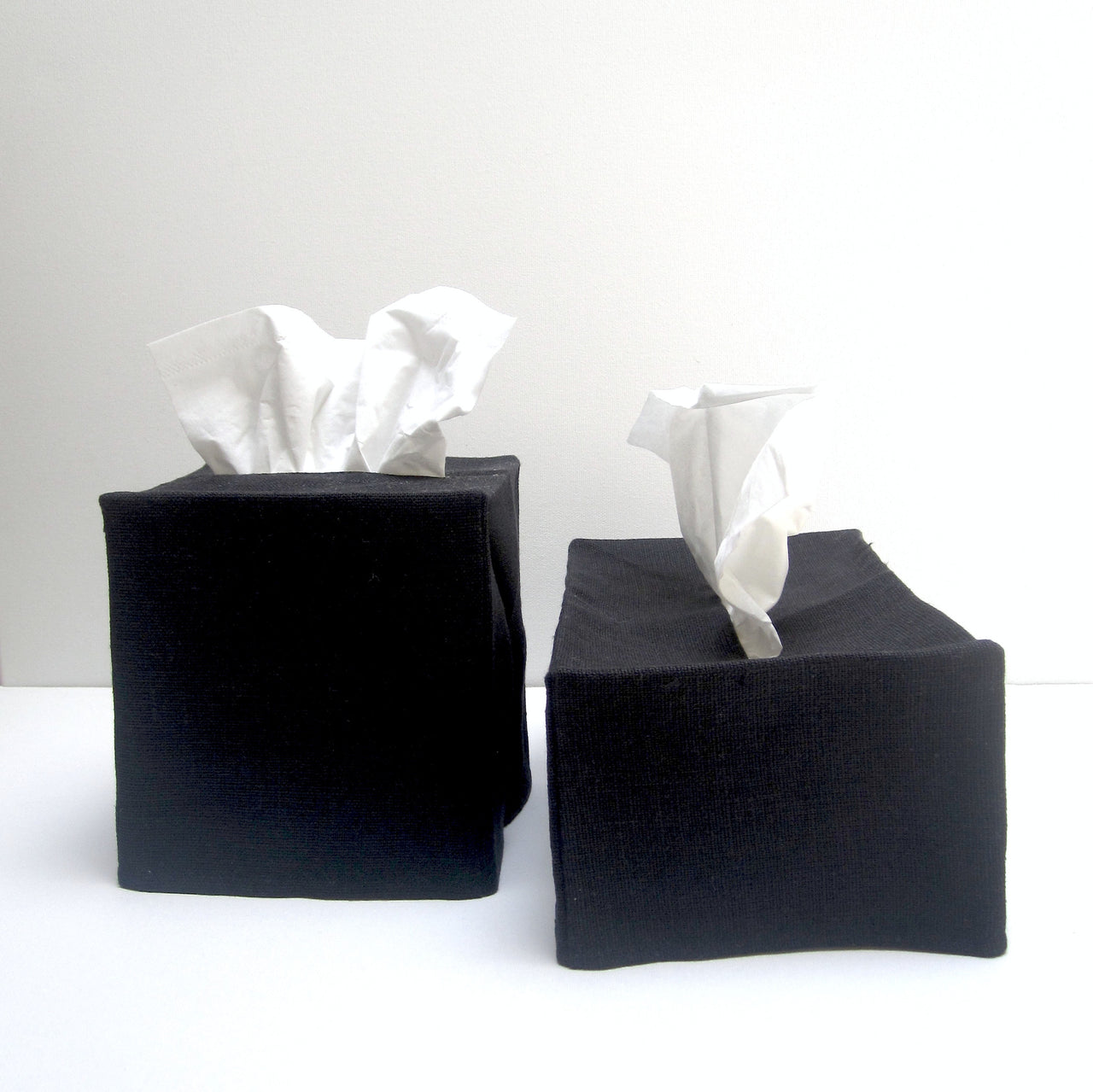 black linen tissue cover