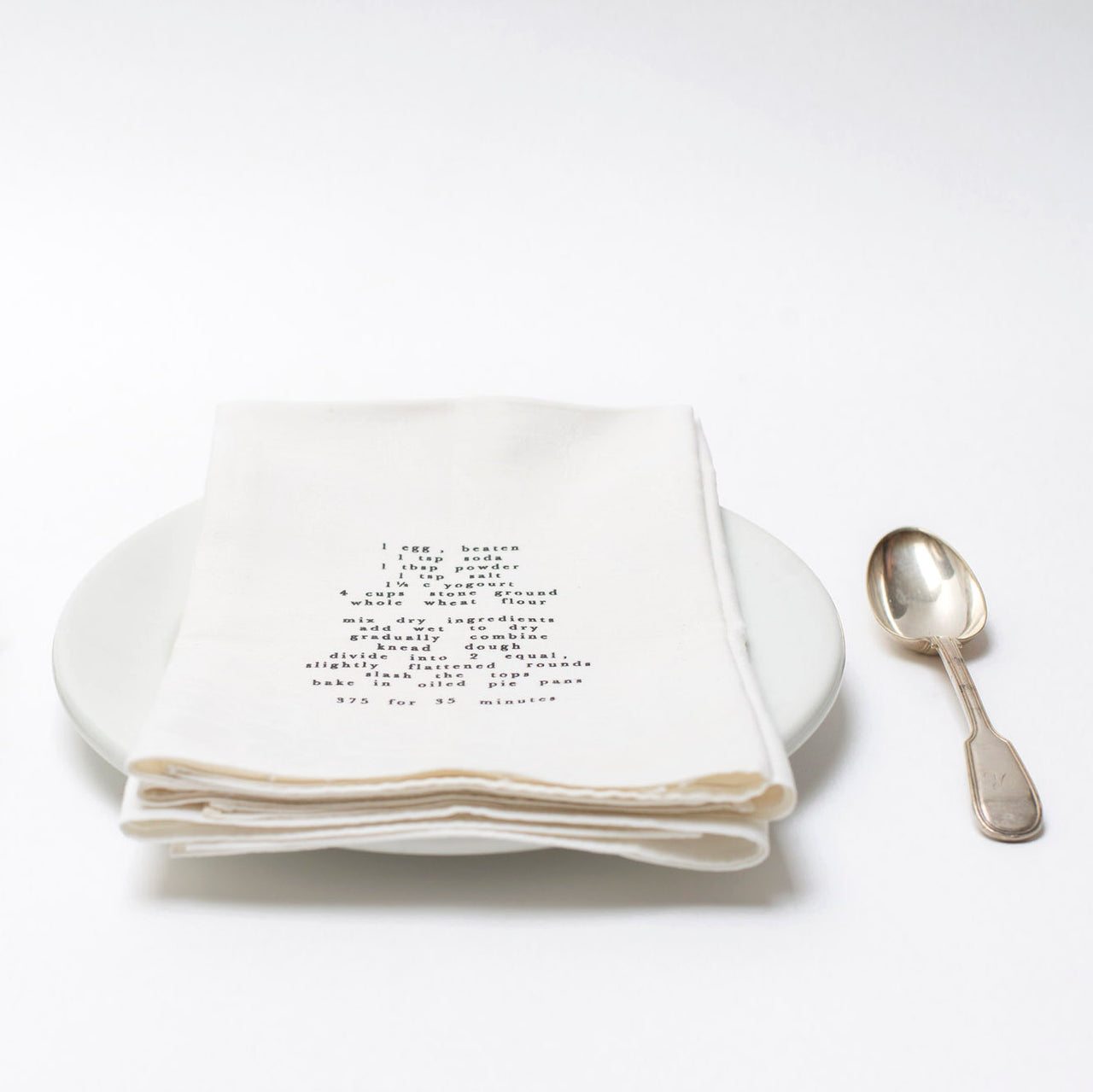 vintage damask napkins with recipe