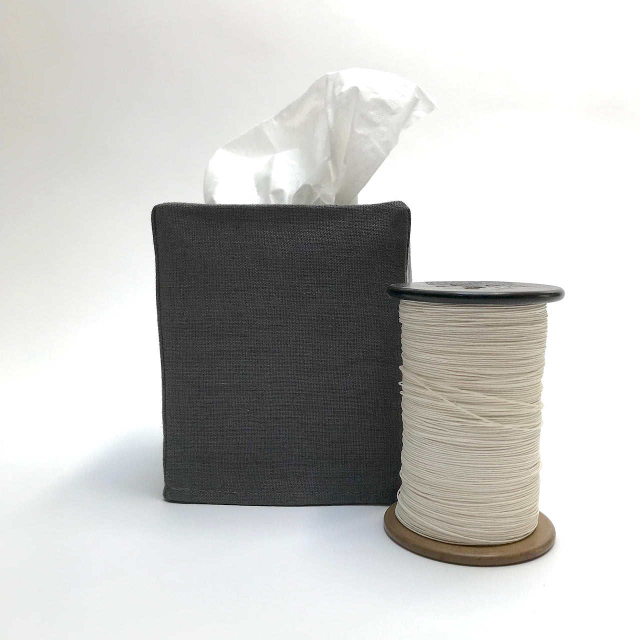 charcoal linen tissue cover