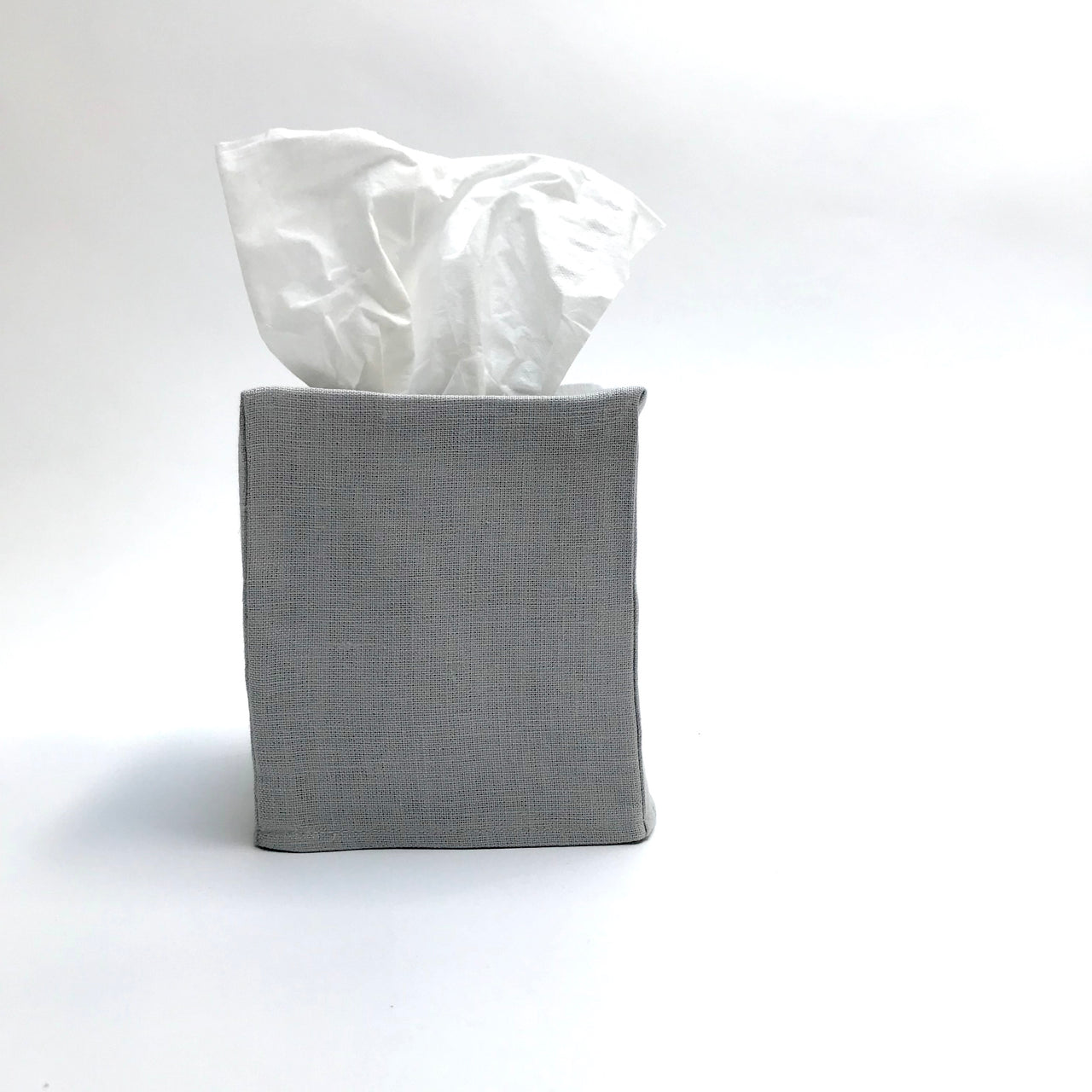 grey linen tissue cover