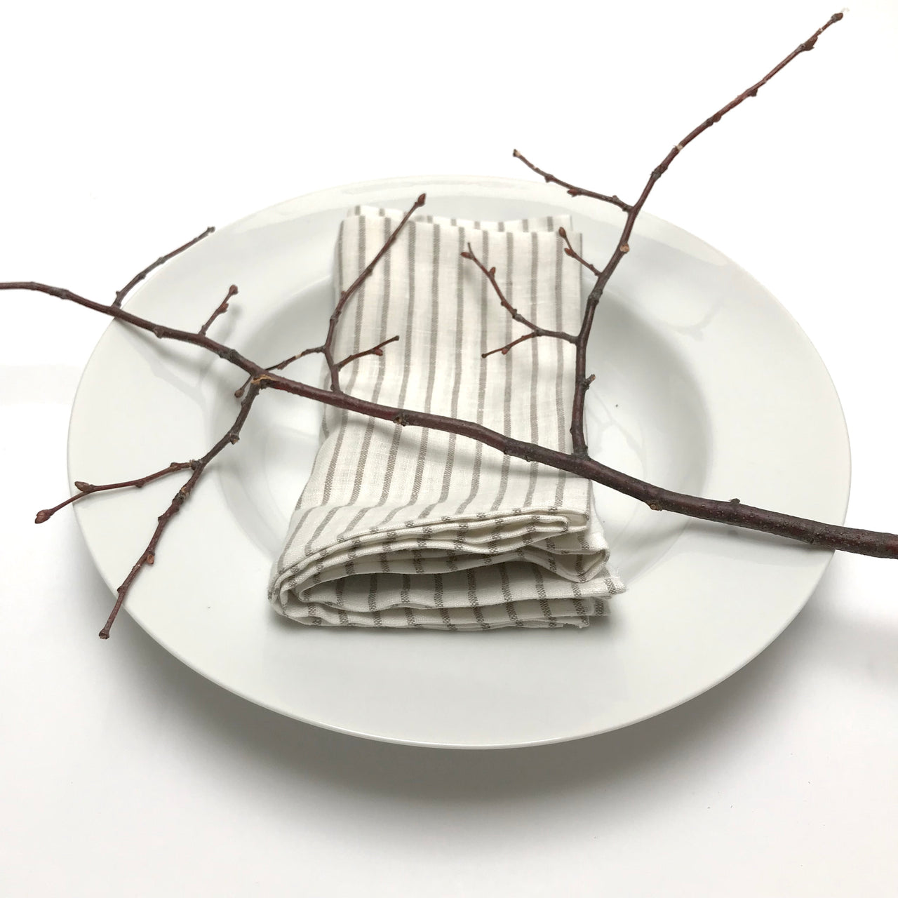linen striped napkins - taupe