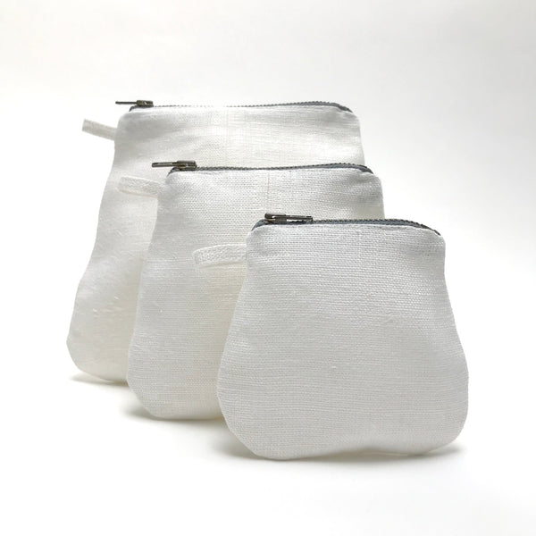 mini pouches (white linen)