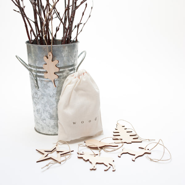 bag of wooden ornaments