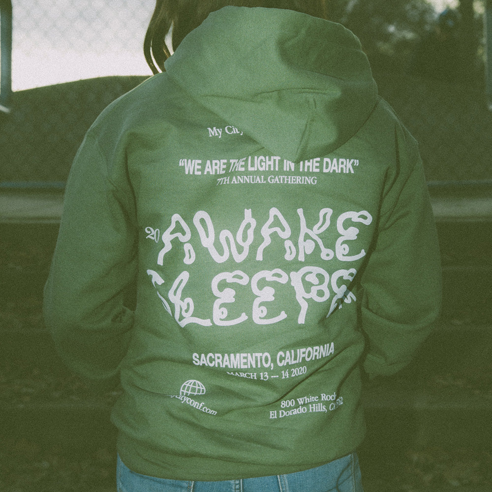 My City Awake Sleeper Hoodie Green & Black - Unisex