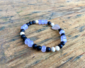 Sterling Silver Heart Bracelet, Purple Chalcedony