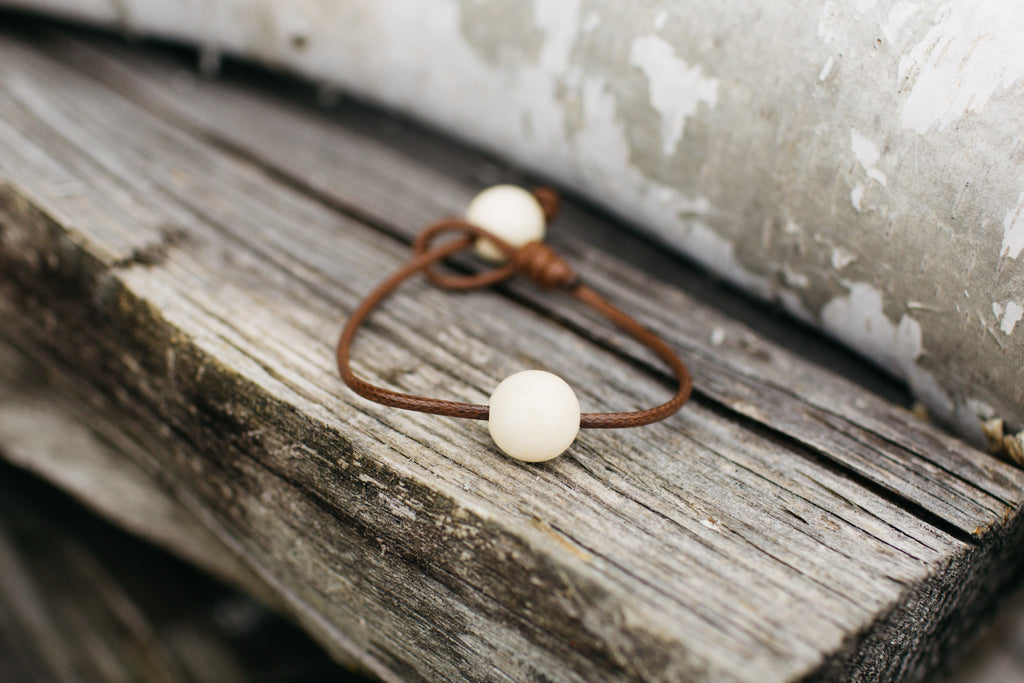 Vegan Leather + Double Mammoth Bracelet